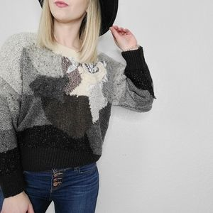 80s Vintage Mixed Patchwork Knit Grandma Sweater